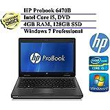 HP ProBook 6470b 14 Inch Business High Performance Laptop ( Intel Core i5-3320M 2.6GHz Dual-Core, 4GB RAM, 128GB SSD, Wifi, DVD, Windows 7 Professional) (Certified Refurbished)