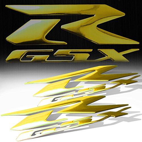 3D Chrome Rubber Fuel Gas Tank Fairing Body Emblem Decal Sticker Set For Suzuki