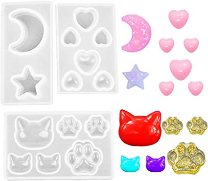 DIY Mobile Phone Decoration Tools 010168//010169//010170 Pendant Earrings Making 3 Pcs Star Moon//Cat Footprint//Love Heart Jewelry Silicone Mold with Hole for Polymer Clay Resin Epoxy Crafting