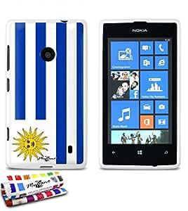 Carcasa Flexible Ultra-Slim NOKIA LUMIA 520 de exclusivo motivo [Bandera Uruguay] [Blanca] de MUZZANO  + ESTILETE y PAÑO MUZZANO REGALADOS - La Protección Antigolpes ULTIMA, ELEGANTE Y DURADERA para su NOKIA LUMIA 520