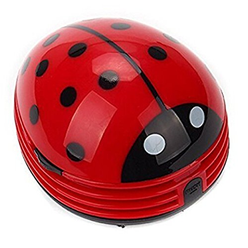 discoGoods Red Beetle Shaped Portable Corner Desk Table Top Vacuum Cleaner Mini Cute Vacuum Cleaner Dust Sweeper (Red-Beetle)