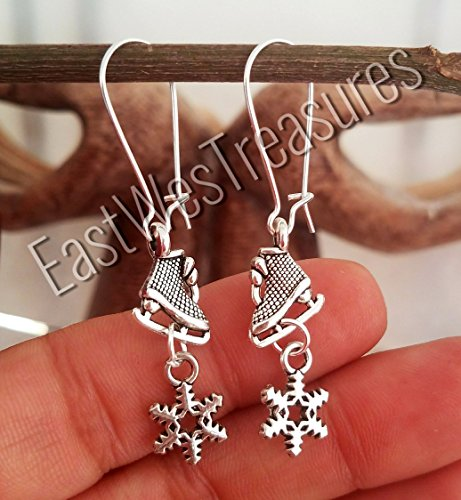 EWT stainless steel Ice skates figure skater skating skates boots shoes, ice princess snowflake dangle earrings -