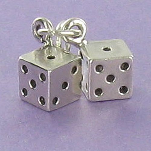 Pair of Dice Charm - 925 Sterling Silver for Bracelet or Necklace Gambling Craps - Jewelry Accessories Key Chain Bracelets Crafting Bracelet Necklace Pendants