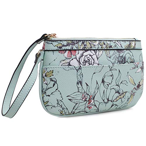 Isabelle Small Floral Zip Wristlet (Mint)