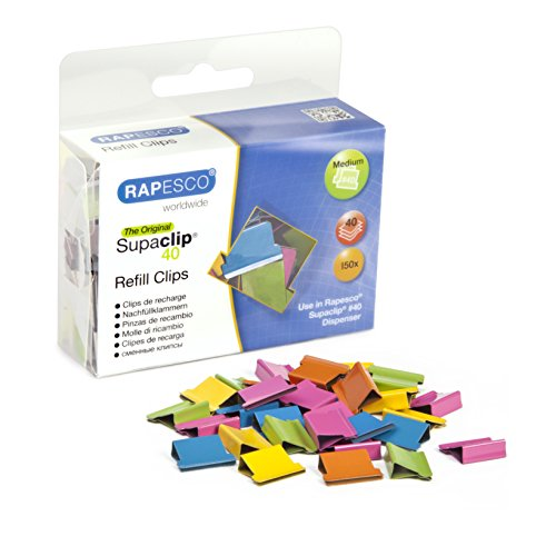 Rapesco Supaclip 40 Binder Clip Refill Pack, Multi-Colored, Pack of 150 Clips (CP15040M)