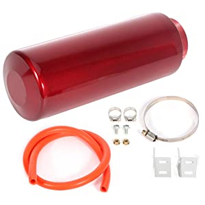 AUTOMUTO Universal Aluminum Racing Radiator Coolant Overflow Tank Kit Turbo Reservoir Billet Round 800ml Red Air-Oil Separator