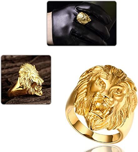 Yodensity Stainless Steel Gold Lion Head Finger Ring Band Vintage Gothic Jewellery for Women and Men Size Q Y