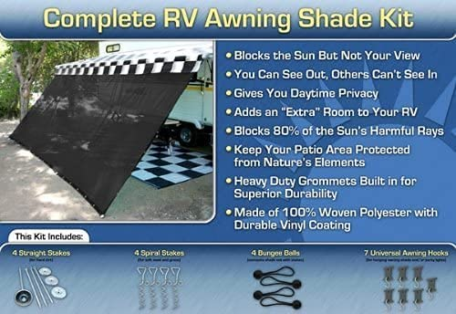 EZ Travel Collection Black RV Awning Shade Complete Kit