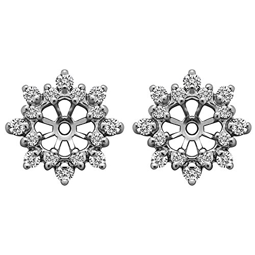 1/2 ct. Diamonds (G-H,I2-I3) Cluster Style Earring Jacket in 10k White Gold (0.48 ct. twt.) (Diamond Earring Platinum Jackets)