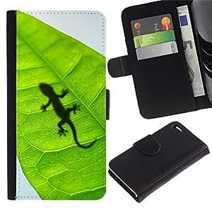 All Phone Most Case / Oferta Especial Cáscara Funda de cuero Monedero Cubierta de proteccion Caso / Wallet Case for Apple Iphone 4 / 4S // Cute Lizard Leaf Reptile Gecko
