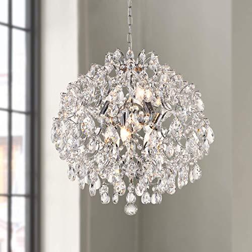 Modern Pendant Chandelier Crystal Raindrop Lighting Ceiling Light Fixture Lamp for Dining Room Bathroom Bedroom Livingroom 6 E12 Bulbs Required D20 in x H20 in