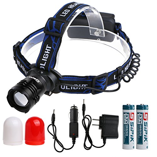 Sipik Waterproof LED Headlamp with Zoomable 3 modes &Supe...