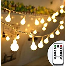String Lights, KEEDA 16.4ft 50 LED Outdoor Globe String Lights 8 Modes Battery Operated Dimmable Fairy Light With Remote & Timer, Warm White