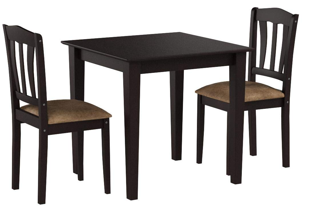 Harewood 3 Piece Dining Set, Constructed of Sturdy Rubber Wood with Microsuede Upholstered Seats by Simple Living Products