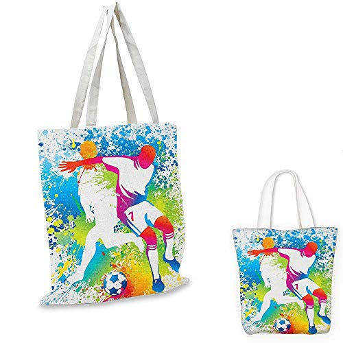 (Youth portable shopping bag Football Players with a Soccer Ball and Colorful Grunge Splashes Competition Sports shopping bag for women Multicolor. 12