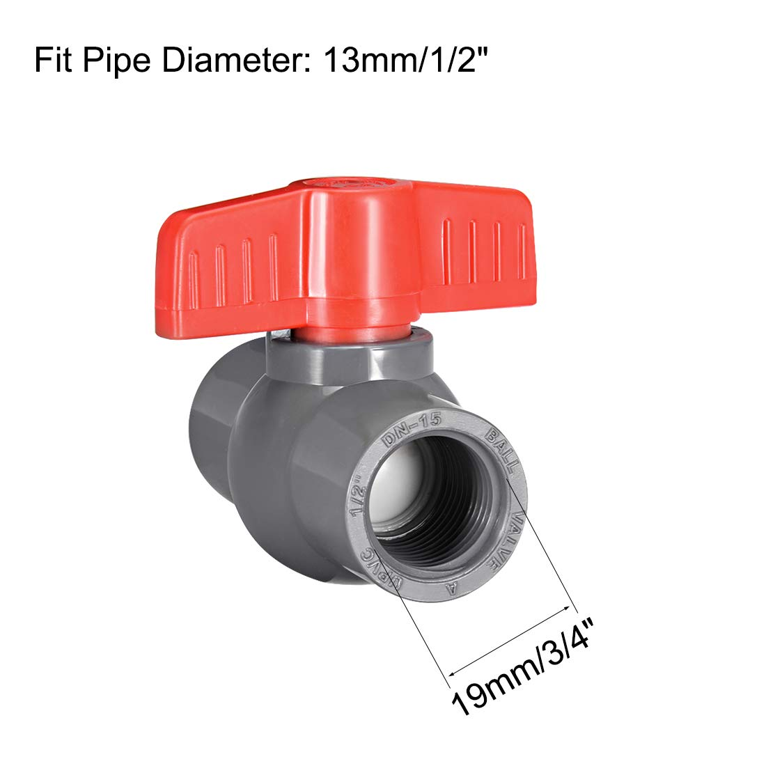 uxcell PVC Ball Valve Supply Pipe Knob Threaded Ends 1//2 inches Inner Hole Diameter Red Gray 2Pcs