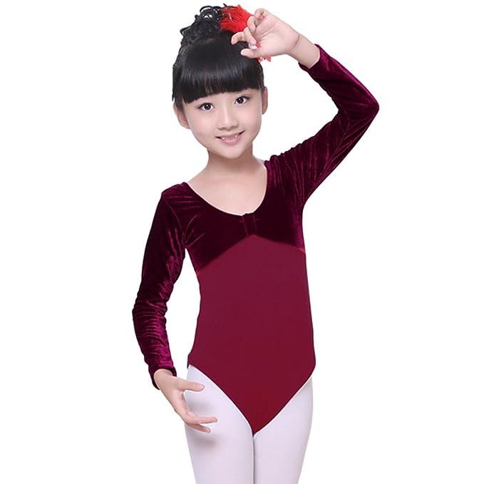 333e78fe16 Amazon.com: KINDOYO Kids Children Girls Cotton Long Sleeve Ballet Dress  Gymnastics Dance Leotard Bodysuits Skirt Costume Dancewear: Clothing