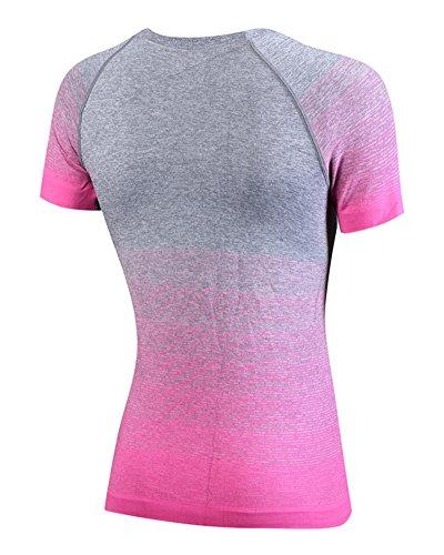 Camiseta Deportiva - Degradado de Color Camiseta de Manga Corta para Mujer Rose