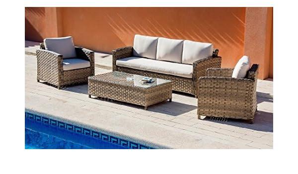 Set sofas terraza y jardin rattan Living Brafta beige ...