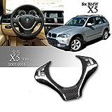 Eppar® New Carbon Fiber Steering Wheel Cover for BMW X5 E70 2008-2013 (D)