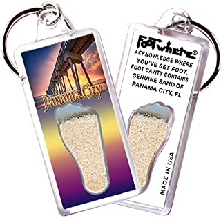 """product image for Panama City """"FootWhere"""" Key Chain (PC104 - Pier). Authentic Destination Souvenir acknowledging Where You've Set Foot. Genuine Soil of Featured Location encased Inside Foot Cavity. Made in USA"""