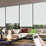 Yoolax Motorized Window Roller Shades Blinds Wireless Remote Control -100% Blackout Fabric Shades for Home and Office Customized (White)