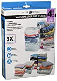 InterDesign 06240 Drawer Vacuum Storage Cube Bags with Resealable Closures for Closets, Set of 4