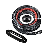 "3/16"" x 50' Black Synthetic Winch Rope w/Heat Guard + Black CNC Machined 6061 Aluminum Hawse Fairlead + Black Rope Stopper"
