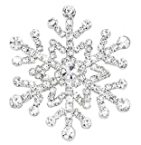 Snowflake Pin Brooch or Hair Jewelry Austrian Crystal Silver (#106) (1.80, silver-plated-base)