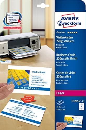 AVERY Zweckform C32016-25 Premium Visitenkarten, blanko (250 Stück, 220g, 85x54 mm, beidseitig bedruckbar, satiniert ultraweiß, absolut glatte Kanten, 25 Blatt) zum Selbstbedrucken auf Laser-Druckern