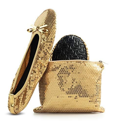 - Women's Foldable Portable Travel Ballet Flat Roll Up Slipper Shoes (X-Large, Gold - Sequins)