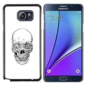 YiPhone /// Prima de resorte delgada de la cubierta del caso de Shell Armor - Cráneo de la muerte del motorista de la cuadrilla blanca Lápiz - Samsung Galaxy Note 5 5th N9200