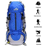 Hiking Backpack 50L Travel Daypack Waterproof with Rain Cover for Climbing Camping Mountaineering by Loowoko(Blue)
