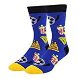 Men's Novelty Funny Popcorn Crazy Food Casual Movie Theater Crew Socks in Blue