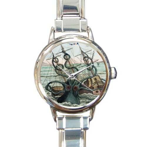 Personalized Watch Kraken Octopus and Sailboat Round Italian Charm stainless steel - Charm Boat Italian
