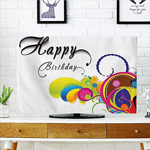 Front Flip Top Spiral Colorful Abstract Floral Elements Modern Greeting Card Inspired Multicolor Front Flip Top W20 x H40 INCH/TV 40