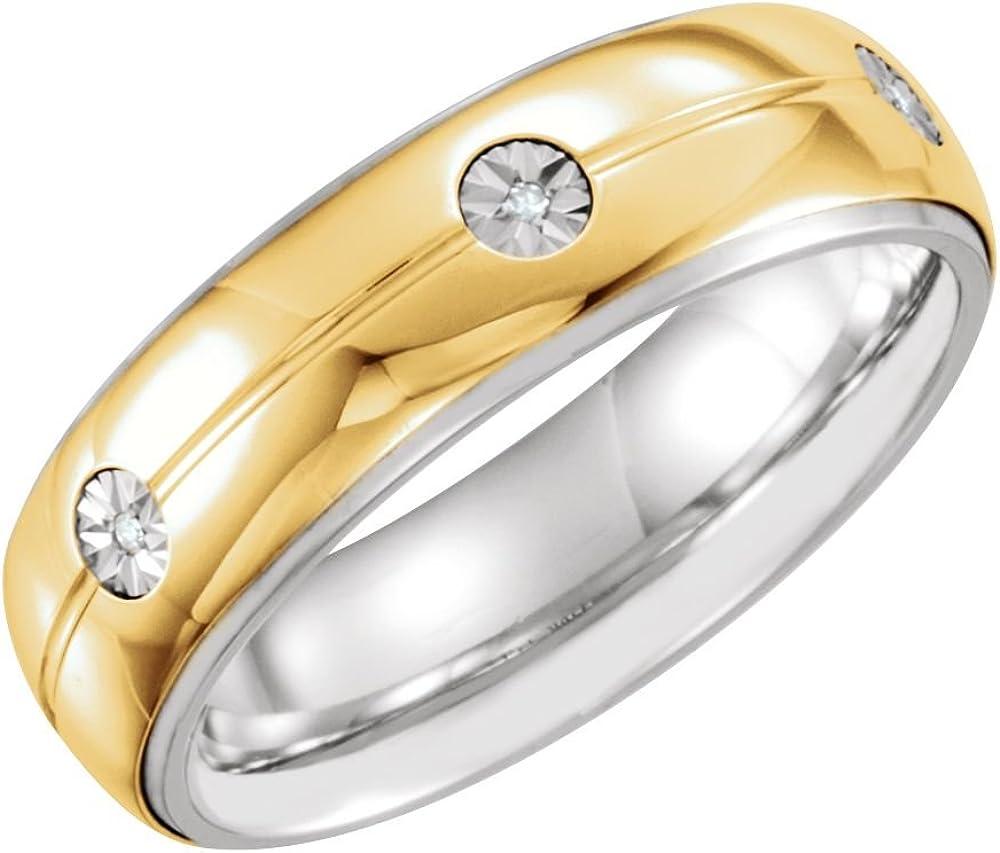 Size 10 Bonyak Jewelry Sterling Silver /& 10k Yellow Gold 7mm .03 CTW Diamond Band