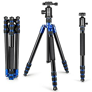 Neewer Aluminum Alloy 65 inches/165 centimeters Tripod Monopod with Degree Ball Head,1/4 inches Quick Release Plate, Carrying Bag for DSLR Camera, Camcorder, Up to 33 pounds/15 kilograms(Blue) 360