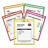 C-Line 43910 Stitched Shop Ticket Holder, Neon, Assorted 5 Colors, 75'', 9 x 12, 25/BX