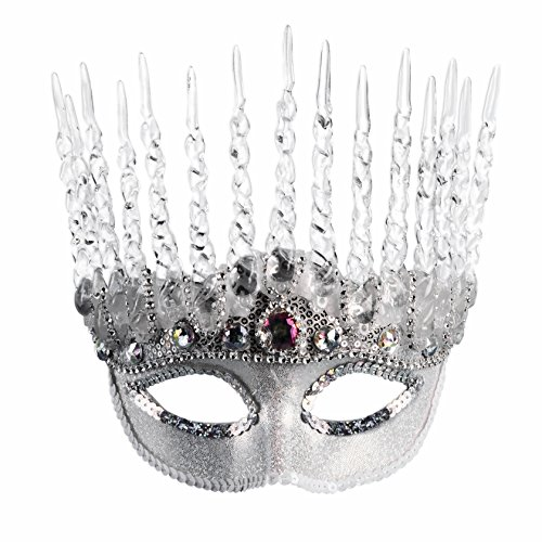 Halloween Ice Costume (Ice Queen White Silver Mask Winter Frozen Snow Princess Icicle Costume)