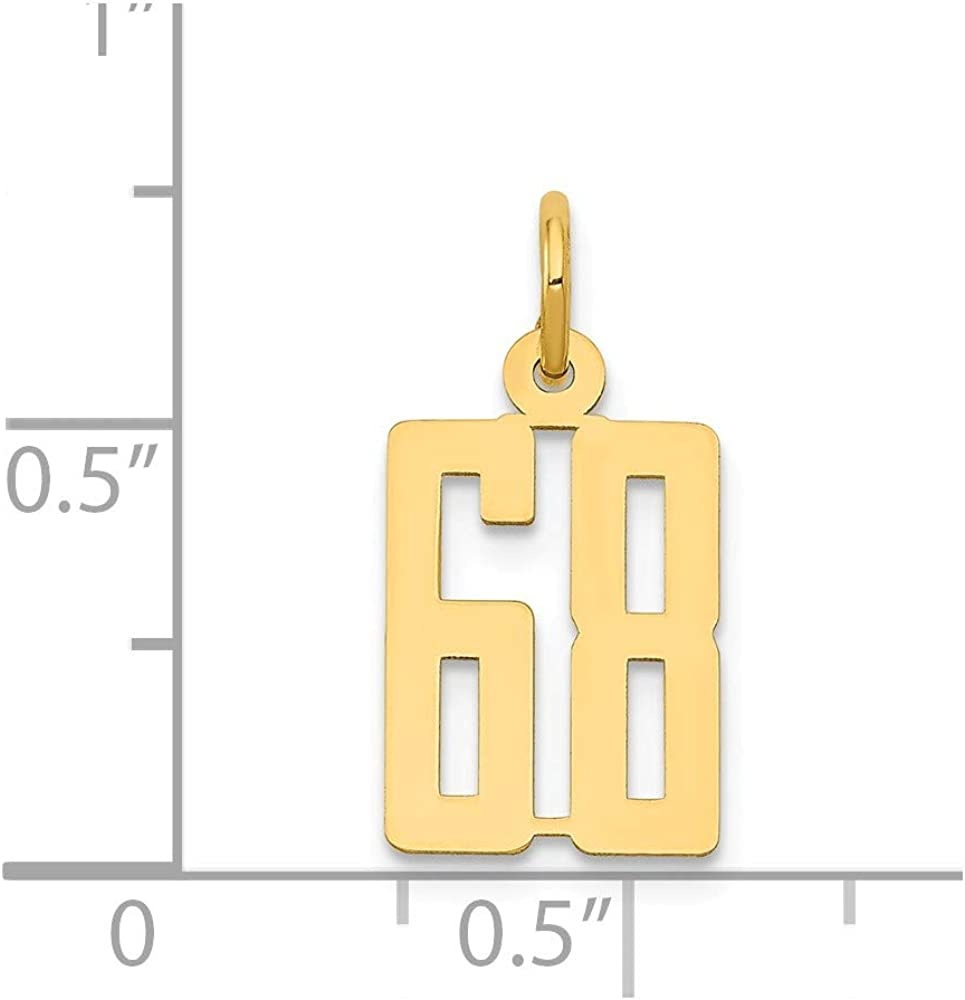 14K Yellow Gold Charm Pendant Themed 68 Small Polished Elongated