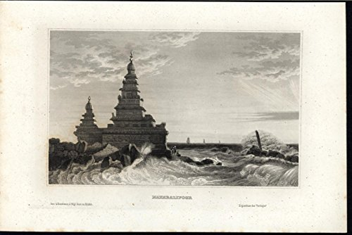 Shore Temple - Mahabalipuram Shore Temple Waves Crashes Rocks c.1850 old vintage engraved print