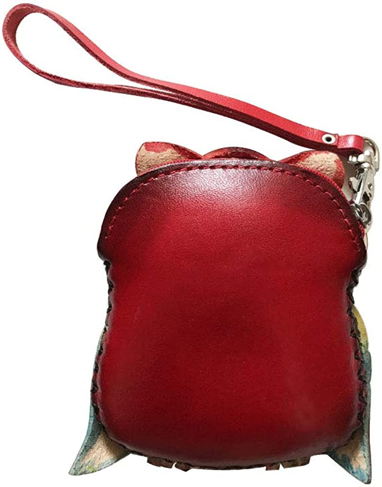 Genuine Leather Zippered Coin Purse Handcrafted Change Pouch Purse Wrist Clutch with Key ring for Women