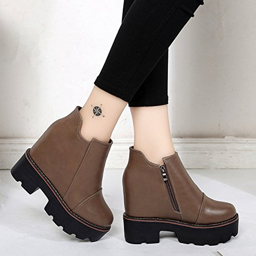 GAOLIM The Increase In The Short Winter Boots With Thick Bottom Slope With Waterproof Taiwan Short Barrel Women Shoes Brown