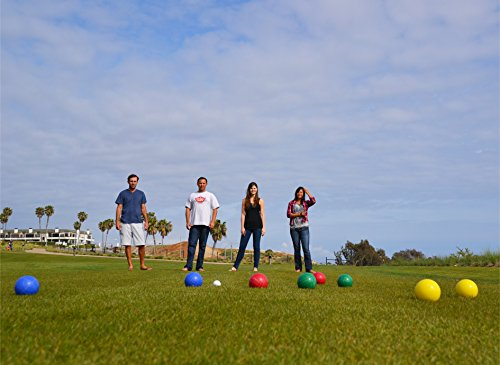 GoSports 90mm Backyard Bocce Set with 8 Balls, Pallino, Case and Measuring Rope | Choose Hard Resin Balls or Soft Rubber Balls