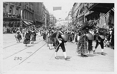 Switzerland Parade Scene Carnival Masks Real Photo Antique Postcard J34050