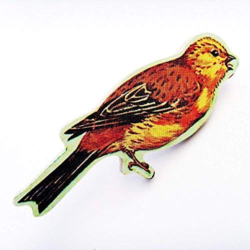 1960s Yellow Hammer Bird Brooch Pin - ME2Designs Upcycled Hand Cut Wood Jewelry
