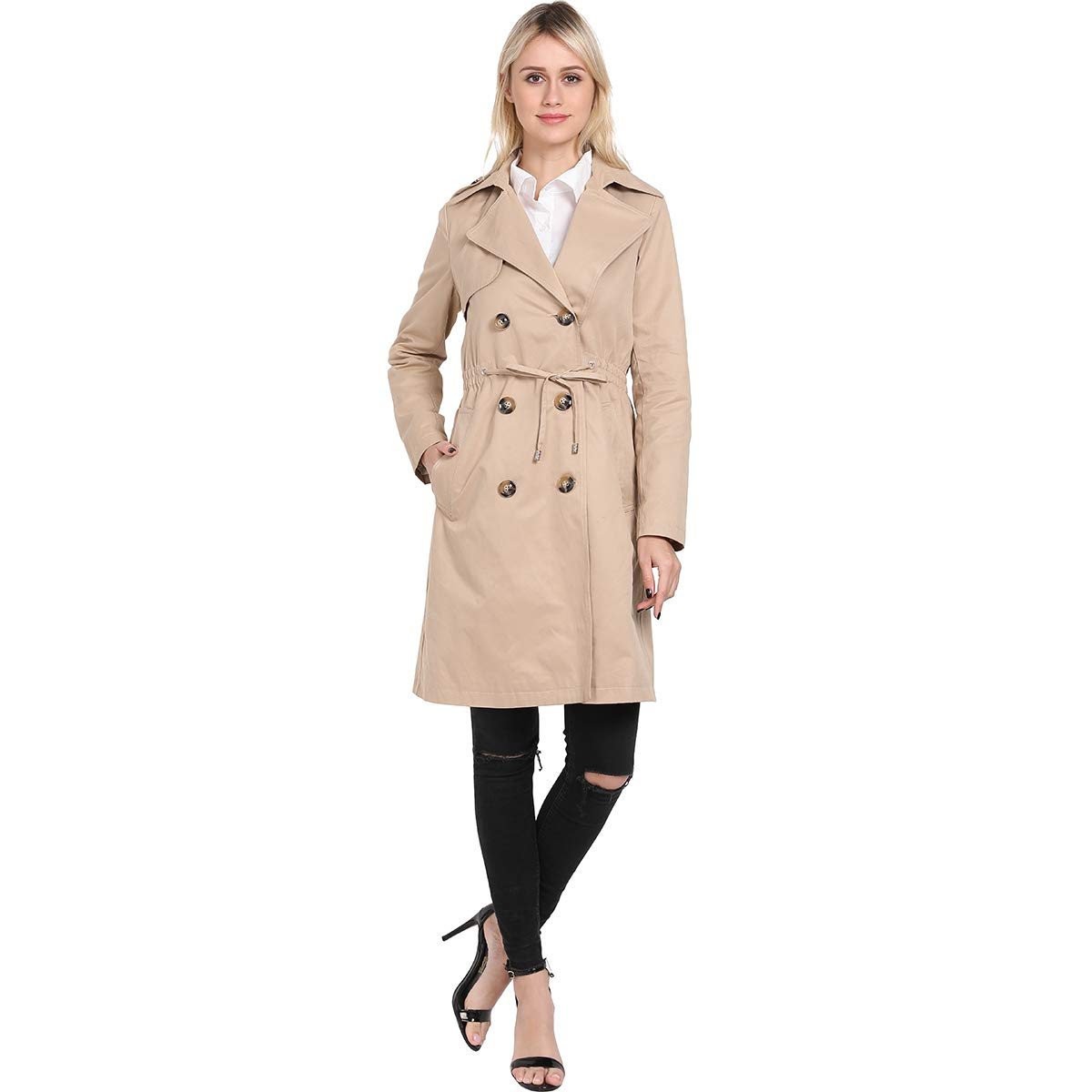 ForeMode Women's Double Breasted Mid-Length Trench Coat Classic Overcoat with Belt (Beige Khaki,XL) by ForeMode