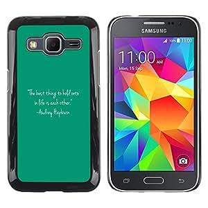 Be Good Phone Accessory // Dura Cáscara cubierta Protectora Caso Carcasa Funda de Protección para Samsung Galaxy Core Prime SM-G360 // Quote Text Audrey Life Motivational