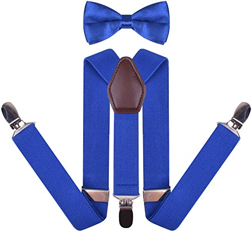 YJDS Men's Leather Suspenders and Pre Tied Bowtie Set Royal Blue 49 Inches